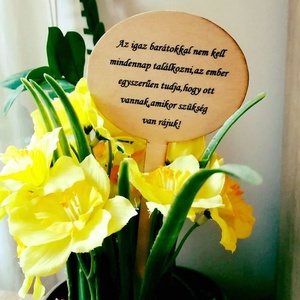 3 db személyre szóló virágkísérő tábla , Dekoráció, Otthon & lakás, Lakberendezés, Kerti dísz, Decoupage, transzfer és szalvétatechnika, Szeretnéd az ajándékba vett virágot egy kicsit személyesebbé tenni? Vagy az otthoni cserepes virágai..., Meska