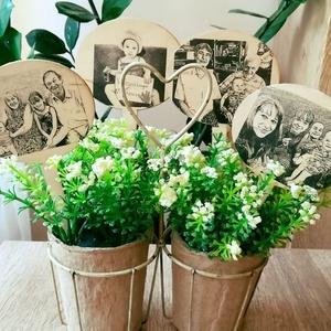 3 db virág dekoráció kedvenc fotóiddal, Otthon & lakás, Dekoráció, Lakberendezés, Kerti dísz, Decoupage, transzfer és szalvétatechnika, Szeretnéd az ajándékba vett virágot egy kicsit személyesebbé tenni? Vagy az otthoni cserepes virágai..., Meska