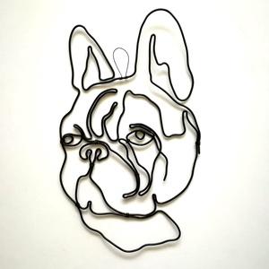 Drót fali dekoráció - francia bulldog, Otthon & lakás, Dekoráció, Lakberendezés, Falikép, Fémmegmunkálás, Szuper ajándék bulldog kutya tulajdonosoknak. \n\nA drót kép fekete drótból készült.\nMérete: 23x15 cm\n..., Meska