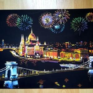 Budapesti tűzijáték, Otthon & lakás, Képzőművészet, Grafika, Dekoráció, Kép, Fotó, grafika, rajz, illusztráció, Ha már idén elmaradt az augusztus 20-i tűzijáték, akkor itt egy csodás kép, mellyel újra és újra áté..., Meska