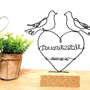 Nászajándék ötlet / Esküvői emlék - drótból készült dekoráció (egyedi dátummal+nevekkel)  / Személyes ajándék ötlet, Esküvő, Emlék & Ajándék, Nászajándék, Mindenmás, Egy pár életének egyik legfontosabb mérföldköve, mikor örökre összekötik az életüket. Ha családtagké..., Meska