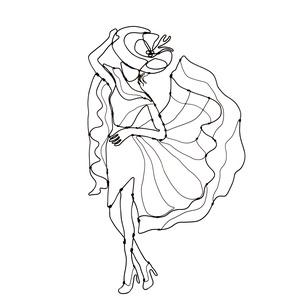 Elegáns hölgy kalapban - Drótból készült modern fali dekoráció - Egyedi kézműves ajándékötlet - Modell, Ruha & Divat, Női ruha, Mindenmás, Egy igazi elaganciát sugárzó hölgy ihlette ezt az alkotásomat.\nStílusos ajándékötlet a divat szerelm..., Meska