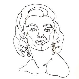 Marilyn Monroe portré /arckép - drótból készült egyedi kézműves alkotás - Modern  fém fali dekoráció - design termék, Művészet, Portré & Karikatúra, Portré, Fémmegmunkálás, Marilyn Monroe egyik híres fényképe alapján készítettem el ezt a portrét róla 1,5 mm vastag alumíniu..., Meska