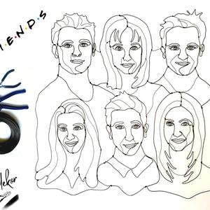 A Jóbarátok visszatértek (Friends reunion) - drótból készült kézműves portré a 6 szereplőről - ajándék ötlet rajongóknak, Művészet, Portré & Karikatúra, Portré, Fémmegmunkálás, A Jóbarátok visszatértek!\n\nA mostani Friends Reunion adta az ötletet, hogy belevágjak a szereplők po..., Meska