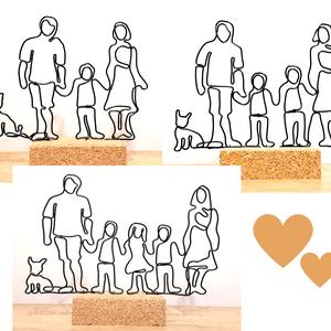 Drótból készült család kutyával vagy cicával - háziállatos dekoráció/szobor - személyre szabható ajándék ötlet , Otthon & Lakás, Lakberendezés, Mindenmás, Manapság a kutyusok, cicusok is a család tagjai, így a drót díszeimről sem maradhatnak le a kis kedv..., Meska