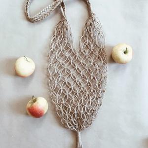 Kenderfonalból készült makramé szatyor kétféle változatban, Táska, Divat & Szépség, NoWaste, Bevásárló zsákok, zacskók , Táska, Szatyor, Csomózás, Kézzel készített makramé szatyor, fenntartható 100%-ban természetes kenderfonalból.Használd gyümölc..., Meska