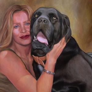 Portré-kiskedvenccel kb. 40x50 cm-es méretben vászonra/fára festve, Művészet, Festmény, Olajfestmény, Olajjal készített portréfestmény kiskedvencével fotóról kb. 40x50 cm-es méretben vászonra/fára festv..., Meska