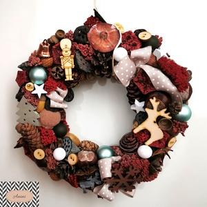Bordó adventi kopogtató, Karácsony & Mikulás, Karácsonyi kopogtató, Virágkötés, Ezen a kopogtatón a bordó különböző árnyalatai dominálnak. A vörös forralt bor jut róla eszembe :-) ..., Meska