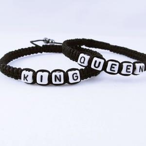 Queen-King zsinóros páros karkötő, Ékszer, Karkötő, Ékszerkészítés, Csomózás, Egy kedves fiatalember kérésére készítettem ezt a karkötő párost. \nA karkötők végeit egy-egy hematit..., Meska