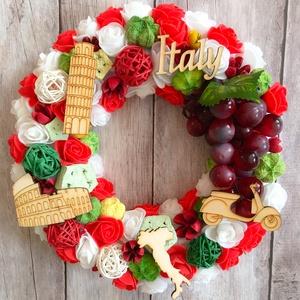 Itália ihlette kopogtató Olaszország szerelmeseinek, Otthon & lakás, Lakberendezés, Ajtódísz, kopogtató, Dekoráció, Dísz, Koszorú, Virágkötés, Itália ihlette kopogtató, ajtódísz Olaszország szerelmeseinek. Fali dekorációnak is tökéletes.\nPolis..., Meska