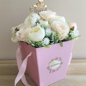 Exkluzív ballagási csokor élethű selyemvirágokból, Otthon & lakás, Dekoráció, Csokor, Ünnepi dekoráció, Ballagás, Lakberendezés, Asztaldísz, Virágkötés, Exkluzív ballagási csokor élethű, prémium minőségű selyemvirágokból. Rózsák, boglárkák és peónia dís..., Meska
