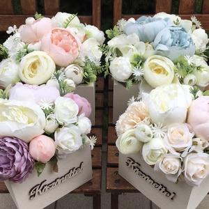 Szülőköszöntő, tanú köszöntő virágdoboz szett esküvőre élethű selyemvirágokból  , Esküvő, Esküvői csokor, Esküvői dekoráció, Meghívó, ültetőkártya, köszönőajándék, Virágkötés, Szülőköszöntő és tanúköszöntő virágdoboz szett élethű, prémium minőségű selyemvirágokból. 16x16 ille..., Meska
