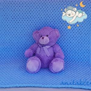 Kötött kék takaró kisfiúnak, Otthon & Lakás, Takaró, Lakástextil, Világoskék szövetmintás kézzel kötött takaró. Pihe-puha, meleg, könnyű, mindössze fél kiló. Ágytakar..., Meska