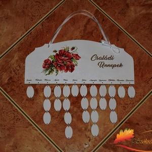 Pipacsos családi öröknaptár, Falinaptár & Öröknaptár, Dekoráció, Otthon & Lakás, Decoupage, transzfer és szalvétatechnika, Naptár tábla: hogy egyetlen fontos ünnep se merüljön feledésbe\n\nA naptár tábla egy öröknaptár, amely..., Meska