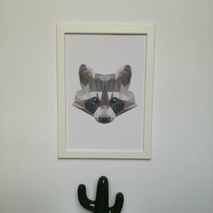 Cuki mosómedve, modern geometrikus ábrázolásban, digitális nyomat kerettel (ANKAhomegoods) - Meska.hu