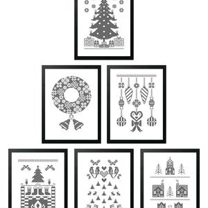 Karácsonyi falikép szett, 6 db digitális nyomat kerettel, Dekoráció, Kép, Ünnepi dekoráció, Karácsonyi, adventi apróságok, Fotó, grafika, rajz, illusztráció, Mindenmás, Karácsonyi tematikájú, monokróm, pixelmintás digitális képek. Az egyedi tervezésű nyomatok modern, ..., Meska