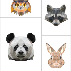 Kollázs,4db-os falikép szett állatokkal,modern geometrikus digitális nyomatok kerettel (bagoly,panda,mosómedve,nyúl) (ANKAhomegoods) - Meska.hu