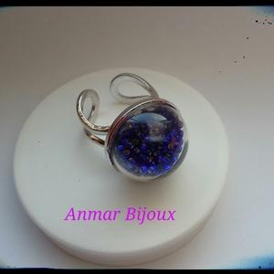Boborékba zárt gyöngyök gyűrű, Ékszer, Gyűrű, Ékszerkészítés, A gyűrű állítható rhodiumozott ezüst színű gyűrű alapból, üveg félgömbből és üveggyöngyökből készült..., Meska