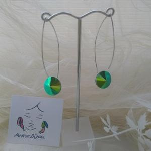 Zöld fülbevaló, Ékszer, Fülbevaló, Ékszerkészítés, A fülbevaló Ag 925 fülbevaló alapból és zöld színű Swarovski rivoliból készült.A rivoli átmérője 1,4..., Meska