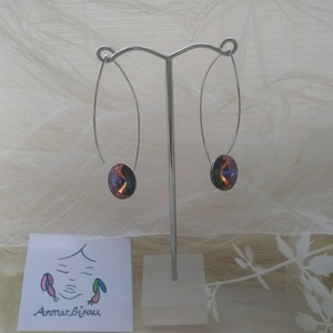 Lila fülbevaló, Ékszer, Fülbevaló, Ékszerkészítés, A fülbevaló Ag 925 fülbevaló alapból és lila színű Swarovski rivoliból készült.\nA rivoli átmérője 1,..., Meska