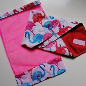 Nowaste szalvéta és tüll bevásárló zsák szettben, Táska & Tok, Bevásárlás & Shopper táska, Zöldség/Gyümölcs zsák, Cseréld le az egyszer használatos szalvétákat és műanyag szatyrokat ezekre a nyári, flamingó mintás ..., Meska
