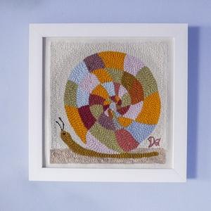 """Csigavonal - gyapjúval \""""festve\"""", Művészet, Textil, Hímzés, Mindenmás, Punch needle technikával és gyapjúfonallal készült textil falikép festett fakeretben. \nA csigavonal ..., Meska"""