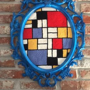 Falikép gyapjúval - Mondrian inspiráció, Otthon & lakás, Képzőművészet, Vegyes technika, Textil, Hímzés, Mindenmás, A képet Piet Mondrian inspirálta.\nPunch needle technikával és gyapjúfonallal készült textil falikép ..., Meska