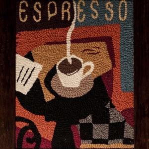 Kávéházi hangulat, Művészet, Textil, Hímzés, Mindenmás, Punch needle technikával és gyapjúfonallal készült textil falikép fakeretben. \nEz a technika lehetőv..., Meska