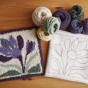 Krókusz virág csomag - punch needle használatához, DIY (leírások), Egységcsomag, Hímzés, Mindenmás, 2021-ben a Nemzetközi Punch Needle Nap mintája egy krókusz virág.\nA csomagban megtalálod az alapanya..., Meska