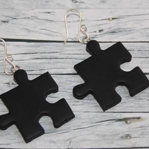 Fekete puzzle fülbevaló (NeferDesign) - Meska.hu
