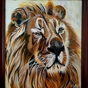 Oroszlán portré, Portré, Portré & Karikatúra, Művészet, Festészet, Otthonod csodálatos dísze lehet, ez az oroszlán portré. Akrillal festett  30 X 40 cm nagyságú . Ez a..., Meska
