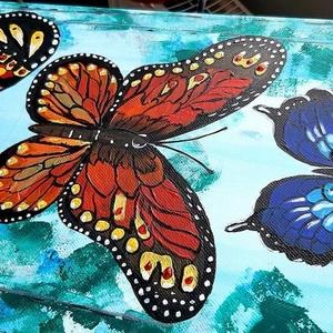Sokszínű Pillangók gyógyító festmény, Akril, Festmény, Művészet, Festészet, Feszített vászonra festett, színes pillangókat ábrázoló festmény  azoknak , akik vágynak az átalákul..., Meska