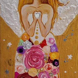 Ékkövek angyala, Otthon & lakás, Dekoráció, Kép, Festett tárgyak, Festészet, Fa alapra (deszkára ) akrillal festett angyalt, az Égiek irányítása alatt  készítettem. Csodaszép sz..., Meska