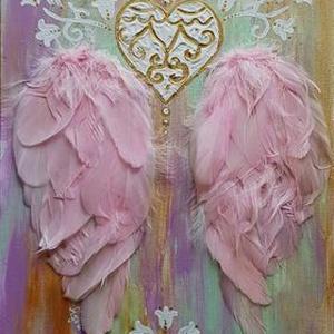 Rózsaszín Angyalszárny, Otthon & lakás, Dekoráció, Kép, Képzőművészet, Festmény, Akril, Fotó, grafika, rajz, illusztráció, Festett tárgyak, Akrillal festett alapon, valódi rózsaszínűre színezett madártollal díszített angyalszárnyak. Szerete..., Meska