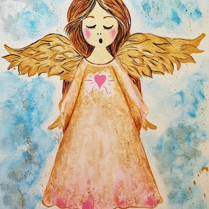 Éneklő Angyalka, Gyerek & játék, Gyerekszoba, Baba falikép, Otthon & lakás, Képzőművészet, Illusztráció, Festmény, Akril, Festészet, Fotó, grafika, rajz, illusztráció, Festett kép , akrillal. Karácsonyi dekorációnak, ajándéknak egyaránt nagyon szép festmény ez az igen..., Meska