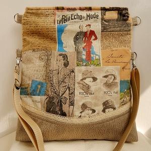 Vintage Párizsi divat - Maxi Trapéz  2:1 válltáska, Táska & Tok, Kézitáska & válltáska, Vállon átvethető táska, Varrás, Patchwork, foltvarrás, Anne Maxi Trapéz kollekció - KÉSZLETEN! \n\nVintage Párizs, divatmintás spanyol vásznat kombináltam dr..., Meska