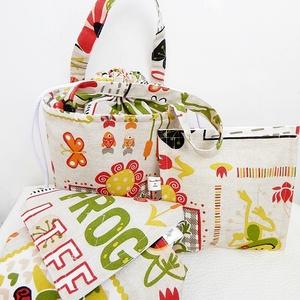 ÖKO Kids bag set - békás uzsonnás táska szett - NoWaste csomagolás!, NoWaste, Táska, Divat & Szépség, Táska, Textilek, Varrás, Anne kids bag set - KÉSZLETEN!\n\n3 részes gyerek uzsonnás táska szett. Kívül békás mintás lonetta vás..., Meska