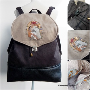 Fekete kislányos festett táska