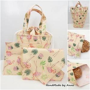 Kids bag set - uzsonnás táska szett - flamingók , NoWaste, Táska, Divat & Szépség, Táska, Textilek, Textil tároló, Otthon & lakás, Varrás, Anne kids bag set - KÉSZLETEN! NoWaste csomagolás!\n\nElsősorban gyerekeknek terveztem ezt az uzsonnás..., Meska