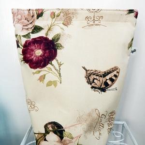 Lunch bag - rózsás uzsonnás zsák, Uzsonna- & Ebéd tartó, Táska & Tok, Ebéd tasak, doboz, Varrás, RENDELHETŐ!\n\nVanília alapon rózsa mintás, romantikus  Lunch bag - vízhatlan, bélelt, tépőzáras uzson..., Meska
