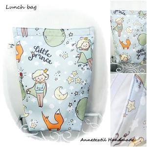 Lunch bag - kis herceg uzsonnás zsák, Uzsonna- & Ebéd tartó, Táska & Tok, Ebéd tasak, doboz, Varrás, KÉSZLETEN!\n\nVilágoskék alapon kis herceg illusztáció, mintás, prémium minőségű ÖKO bag - vízhatlan, ..., Meska