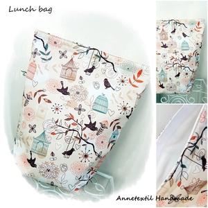 Lunch bag - Madaras uzsonnás zsák, NoWaste, Textilek, Otthon & lakás, Bevásárló zsákok, zacskók , Varrás, KÉSZLETEN! -  utolsó darab \n\nBeige alapon kalitkás madaras mintás, prémium minőségű Lunch bag - vízh..., Meska