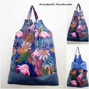 Flamingók - nagy méretű öko szatyor, Shopper, textiltáska, szatyor, Bevásárlás & Shopper táska, Táska & Tok, Varrás, RENDELHETŐ!\n\nEzt a bevásárló szatyrot a műanyag szatyrok kiváltása érdekében terveztem. \n:( A nejlon..., Meska