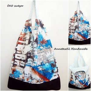 Urban style - nagy méretű öko szatyor, Táska, Divat & Szépség, Táska, NoWaste, Bevásárló zsákok, zacskók , Szatyor, Varrás, KÉSZLETEN!\n\nEzt a bevásárló szatyrot a műanyag szatyrok kiváltása érdekében terveztem. \n:( A nejlon ..., Meska