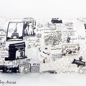 Párizs mintás, vintage párnahuzat 60x30, Lakberendezés, Otthon & lakás, Lakástextil, Párna, Dekoráció, Varrás, Patchwork, foltvarrás, AnneHOME - Párnák  - KÉSZLETEN!\n\nRomantikus, vintage stílusú, Párizs mintás, shabby párnahuzat spany..., Meska