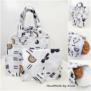 Kids bag set - uzsonnás táska szett - láma, alpaka, Uzsonna- & Ebéd tartó, Táska & Tok, Piknik kosár & táska, Varrás, Anne kids bag set - KÉSZLETEN!\n\nElsősorban gyerekeknek terveztem ezt az uzsonnás táska szettet, mely..., Meska
