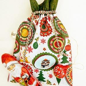 Mikulás zsák - mandala, Karácsony & Mikulás, Karácsonyi csomagolás, Patchwork, foltvarrás, Varrás, Anne mikulás zsák - mandala, mosómedve\n\nSzeretettel ajánlom figyelmedbe skandináv stílusú ajándék zs..., Meska