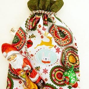 Mikulás zsák - mandala, Karácsony & Mikulás, Karácsonyi csomagolás, Patchwork, foltvarrás, Varrás, Anne mikulás zsák - mandala, nyuszi\n\nSzeretettel ajánlom figyelmedbe skandináv stílusú ajándék zsákj..., Meska