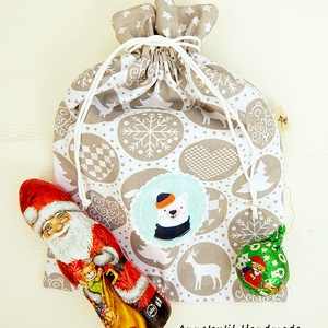Mikulás zsák - jegesmedvével, Karácsony & Mikulás, Mikulás, Patchwork, foltvarrás, Varrás, Anne mikulás zsák - jegesmedvével\n\nSzeretettel ajánlom figyelmedbe skandináv stílusú ajándék zsákjai..., Meska