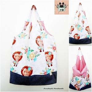 Virágos süni lány - nagy méretű öko bevásárló szatyor, Táska & Tok, Bevásárlás & Shopper táska, Shopper, textiltáska, szatyor, Varrás, Patchwork, foltvarrás, Meska